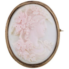 Antique Victorian Carved Coral Cameo Brooch