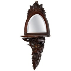 Antique Victorian Carved Eagle Mirror with Shelf