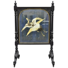 Antique Victorian Carved Fire Screen with Silk Embroidered Crane Panel