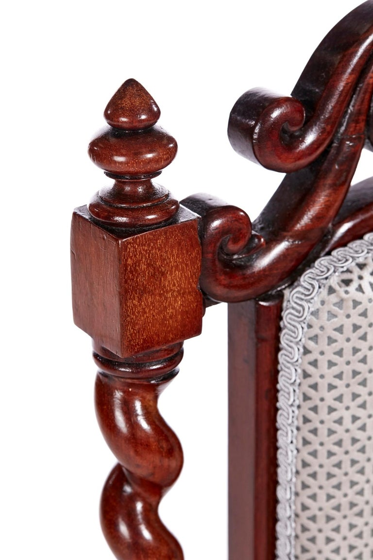 19th Century Antique Victorian Carved Mahogany Hall Chair For Sale