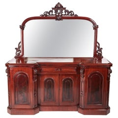 Antique Victorian Carved Mahogany Mirror Back Sideboard