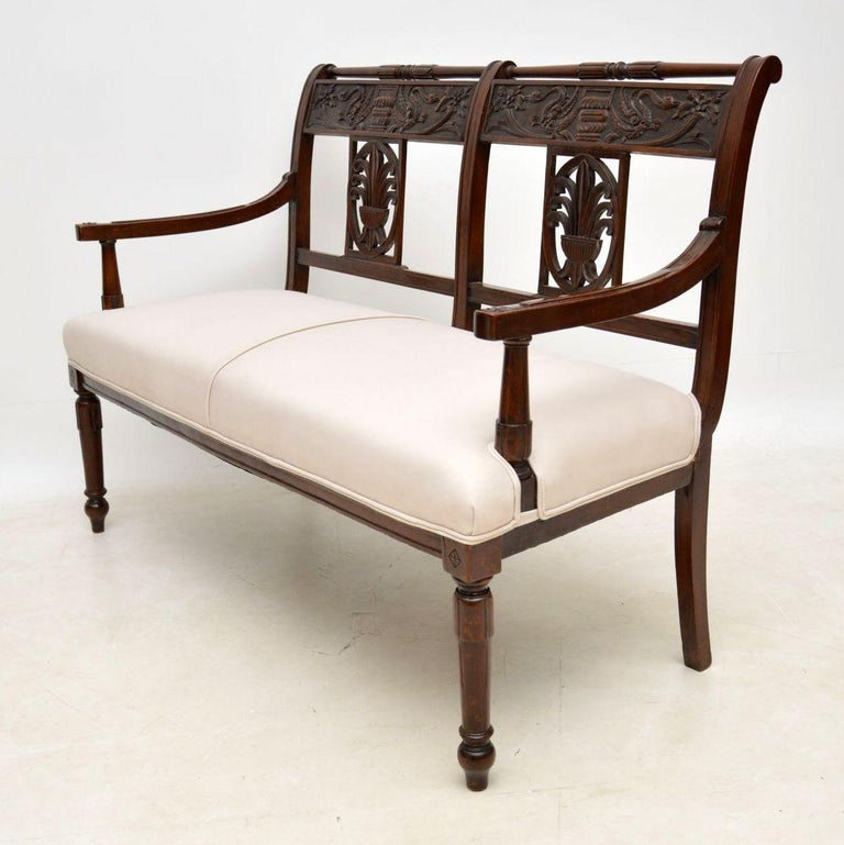 English Antique Victorian Carved Mahogany Settee