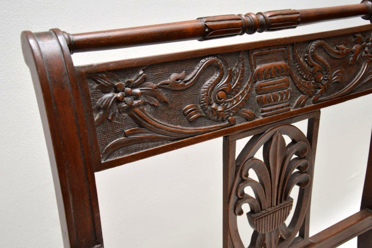 Antique Victorian Carved Mahogany Settee 1