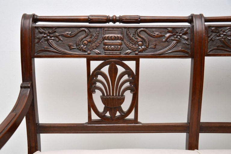 Antique Victorian Carved Mahogany Settee 2