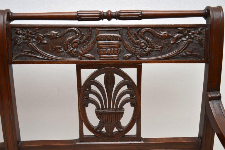 Antique Victorian Carved Mahogany Settee 3