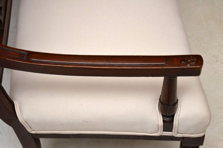 Antique Victorian Carved Mahogany Settee 4