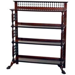 Antique Victorian Carved Mahogany Spindle and Clawfoot Bookstand