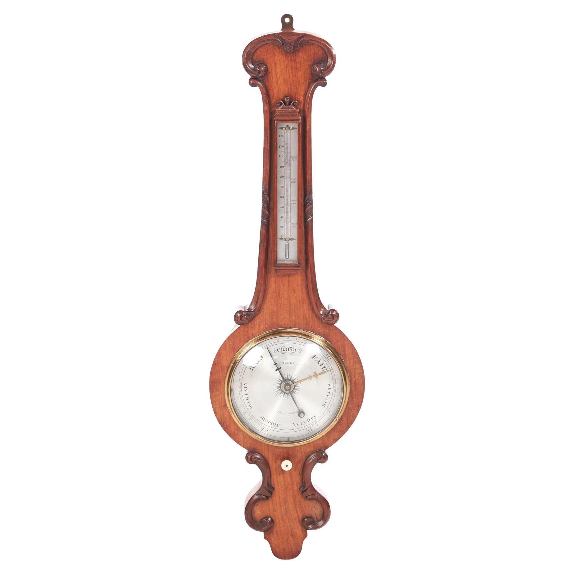 Antique Victorian Carved Oak Banjo Barometer