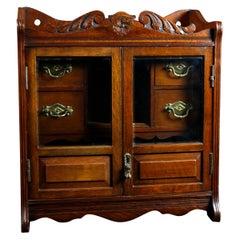 Antique Victorian Carved Oak Double Door Tobacco Cabinet Humidor, circa 1890