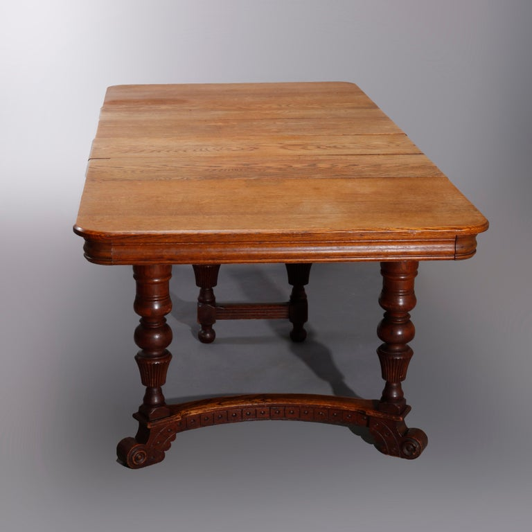 Antique Victorian Carved Oak Extension Dining Table, Four Leaves, circa 1900 For Sale 4