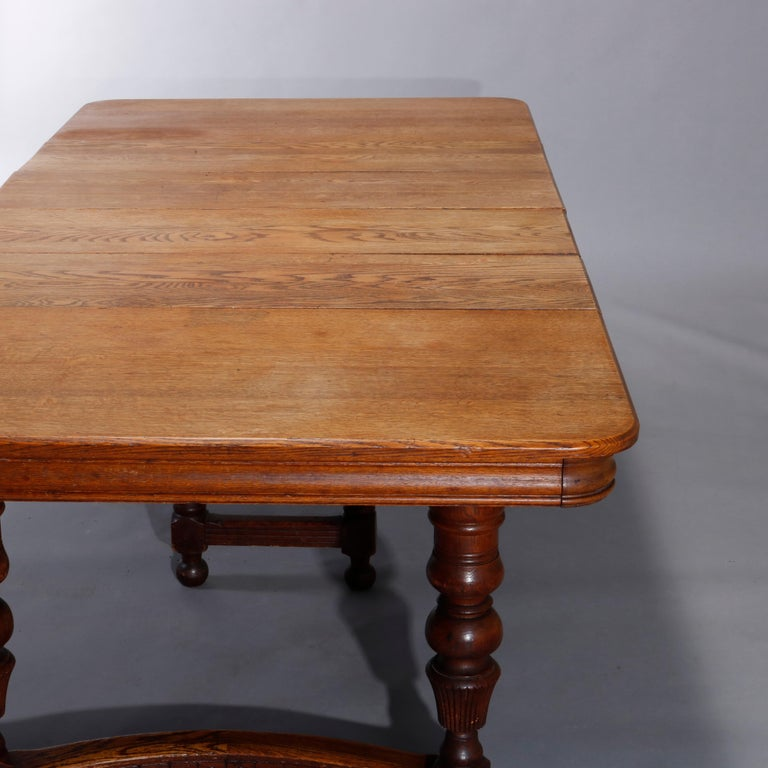 Antique Victorian Carved Oak Extension Dining Table, Four Leaves, circa 1900 For Sale 5