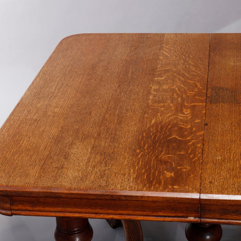 Antique Victorian Carved Oak Extension Dining Table, Four Leaves, circa 1900 For Sale 6