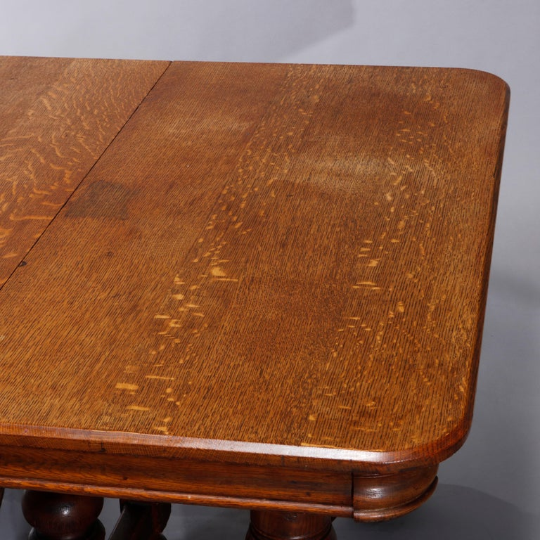 Antique Victorian Carved Oak Extension Dining Table, Four Leaves, circa 1900 For Sale 7