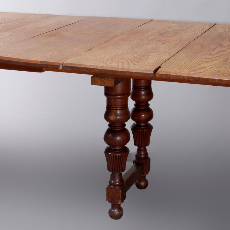 Antique Victorian Carved Oak Extension Dining Table, Four Leaves, circa 1900 For Sale 9