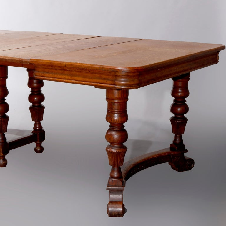 Antique Victorian Carved Oak Extension Dining Table, Four Leaves, circa 1900 For Sale 10