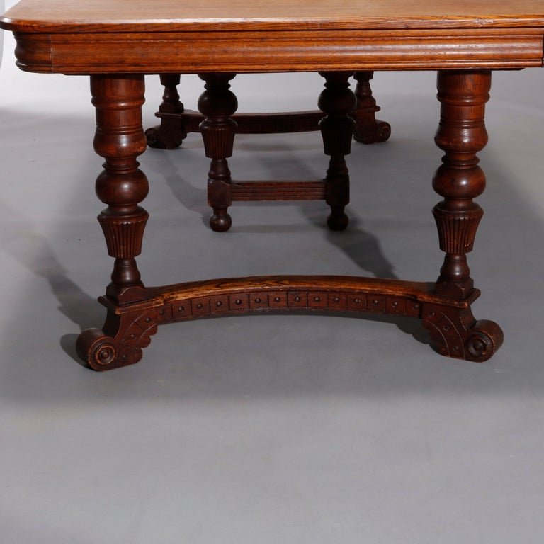 Antique Victorian Carved Oak Extension Dining Table, Four Leaves, circa 1900 For Sale 11