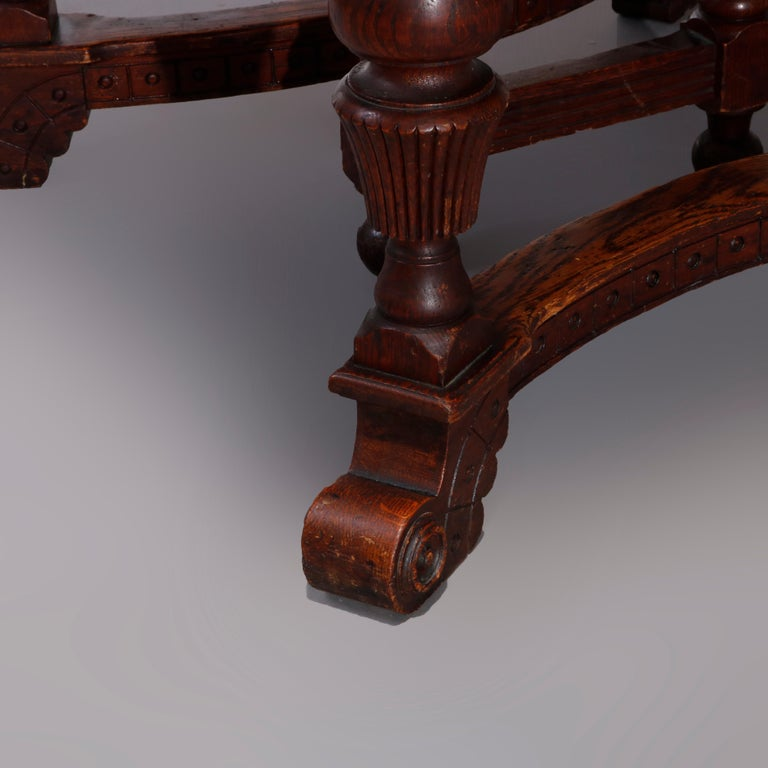 Antique Victorian Carved Oak Extension Dining Table, Four Leaves, circa 1900 For Sale 12