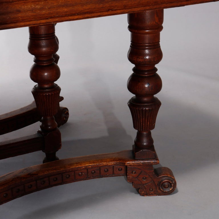 Antique Victorian Carved Oak Extension Dining Table, Four Leaves, circa 1900 For Sale 13