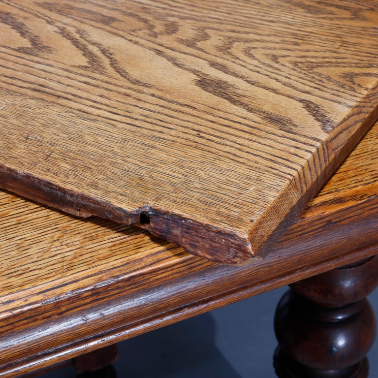 Antique Victorian Carved Oak Extension Dining Table, Four Leaves, circa 1900 For Sale 14