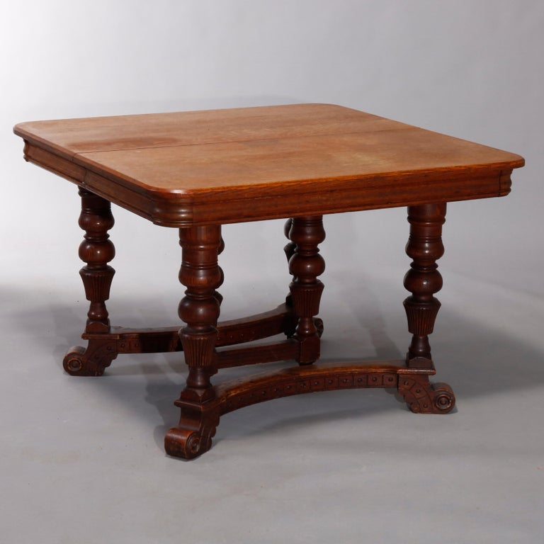 Wood Antique Victorian Carved Oak Extension Dining Table, Four Leaves, circa 1900 For Sale