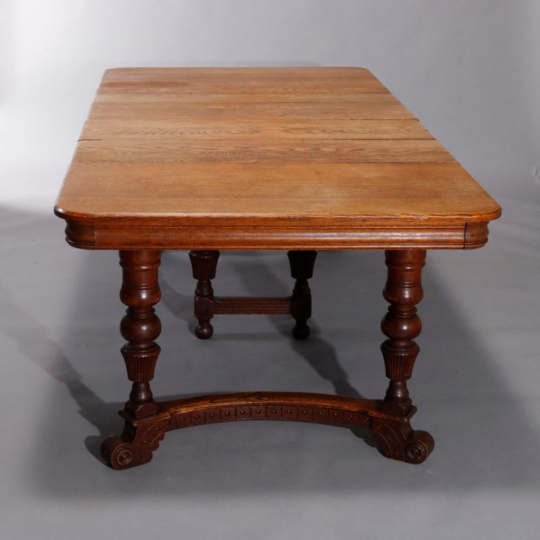 Antique Victorian Carved Oak Extension Dining Table, Four Leaves, circa 1900 For Sale 3