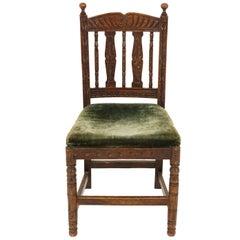 Antique Victorian Carved Oak Hall Chair Desk Chair, Scotland 1890, B2486