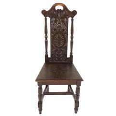 Antique Victorian Carved Oak Hall Chair, Scotland 1880, B2196