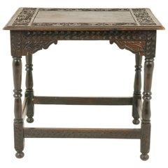 Antique Victorian Carved Oak Hall Table, Scotland 1890, Antique Furniture B1753