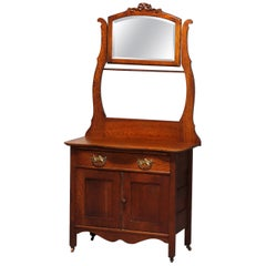 Antique Victorian Carved Oak Hotel Commode with Bar & Mirror, Muncy Mfg