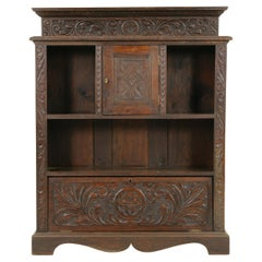 Antique Victorian Carved Oak Open Bookcase, Display Cabinet, Scotland, 1870