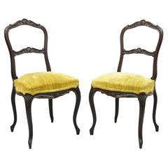 Antique Victorian Carved Rosewood Petite Boudoir Accent Side Chairs, a Pair