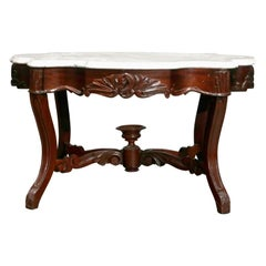 Antique Victorian Carved Walnut and Marble Low Coffee Table, circa 1890