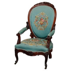 Antique Victorian Carved Walnut and Needlepoint Parlor Armchair, circa 1880