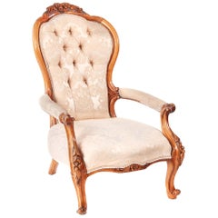 Antique Victorian Carved Walnut Armchair