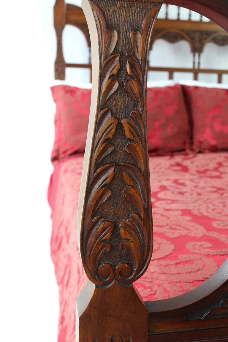 Late 19th Century Antique Victorian Carved Walnut Bedstead UK Double Bed / US Full 'Frame' For Sale