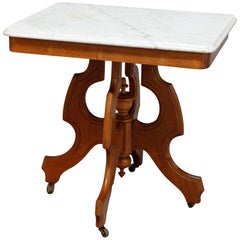 Antique Victorian Carved Walnut and Beveled Marble Side Table, circa 1880