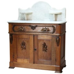 Antique Victorian Carved Walnut Marble-Top Commode with Candle Stands