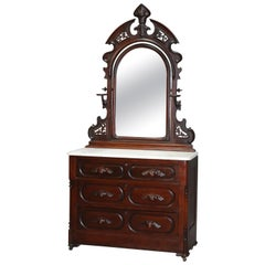 Antique Victorian Carved Walnut Marble-Top Dresser with Mirror, circa 1890