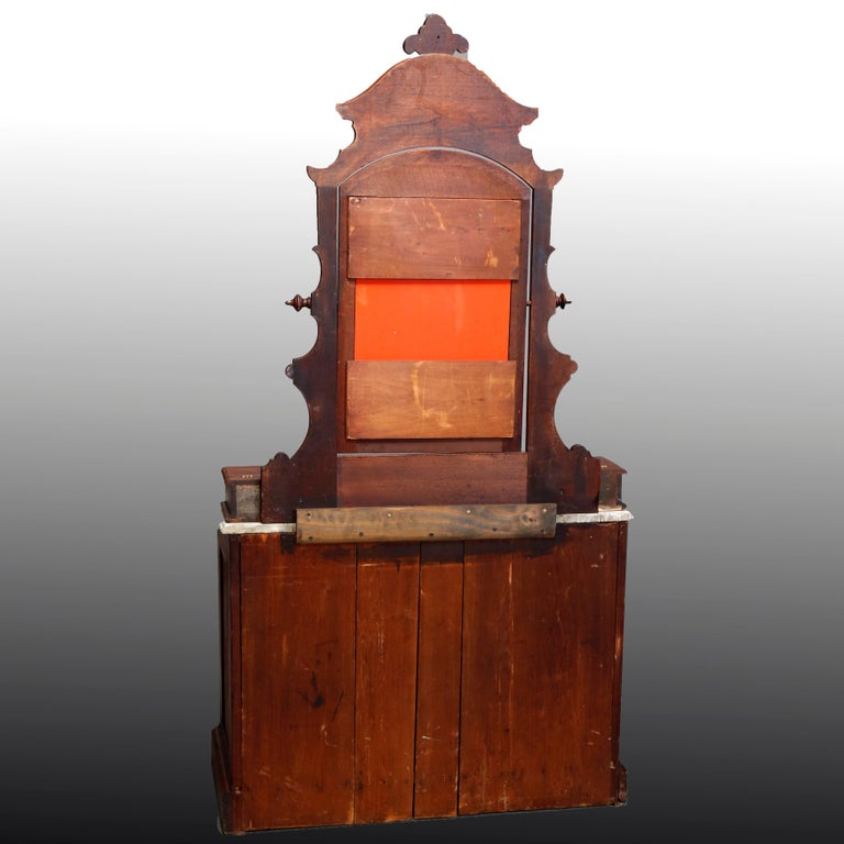 19th Century Antique Victorian Carved Walnut Marble-Top Mirrored Dresser, circa 1890 For Sale