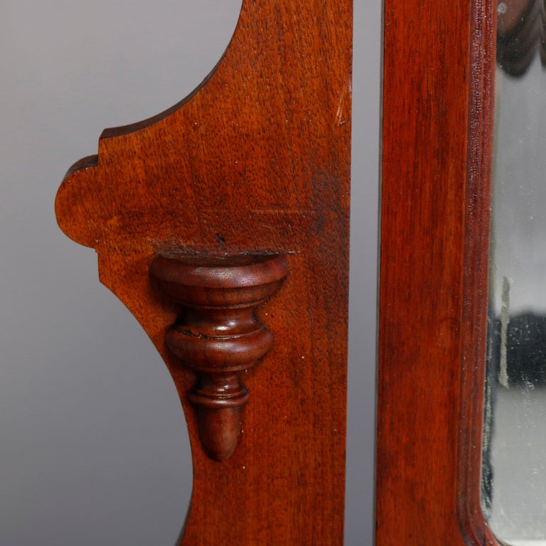 Antique Victorian Carved Walnut Marble-Top Mirrored Dresser, circa 1890 For Sale 2