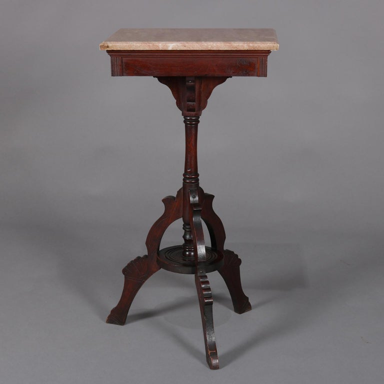 Antique Victorian Carved Walnut Marble Top Plant Display
