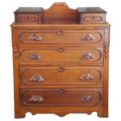 Antique Victorian Carved Walnut Step Back Dresser Glovebox Drawers Chest