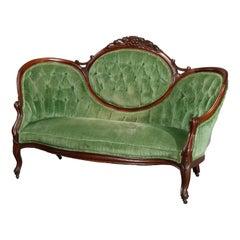 Antique Victorian Carved Walnut & Velvet Medallion Back Sofa, Circa 1890