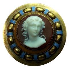 Antique Victorian Cased Goddess Flora Hard Stone Cameo Brooch
