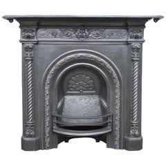 Antique Victorian Cast Iron All in One Fireplace