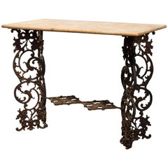 Antique Victorian Cast Iron and Marble Garden Table, circa 1890