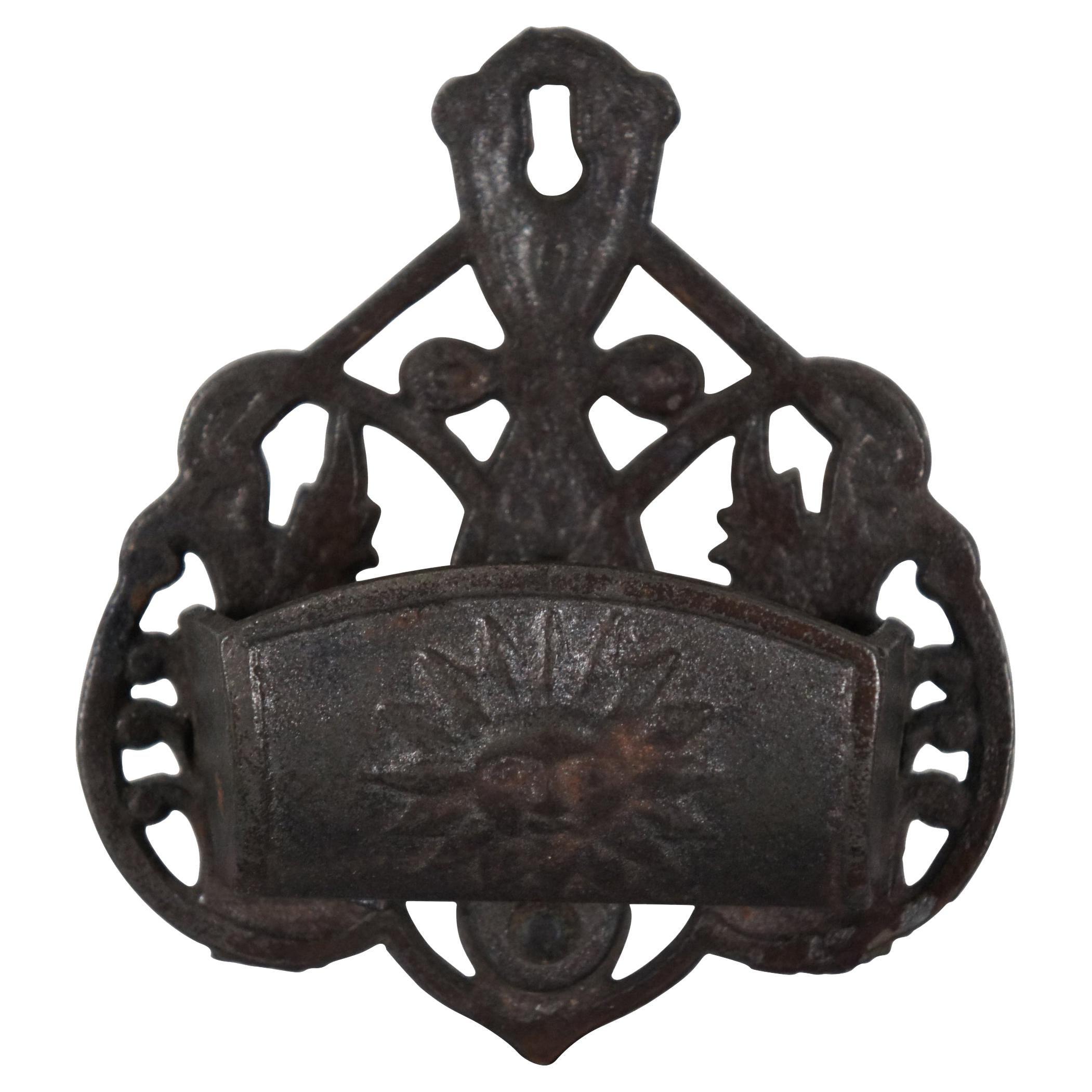 Antique Victorian Cast Iron Match Safe Stick Toothpick Holder Wall Pocket Sun