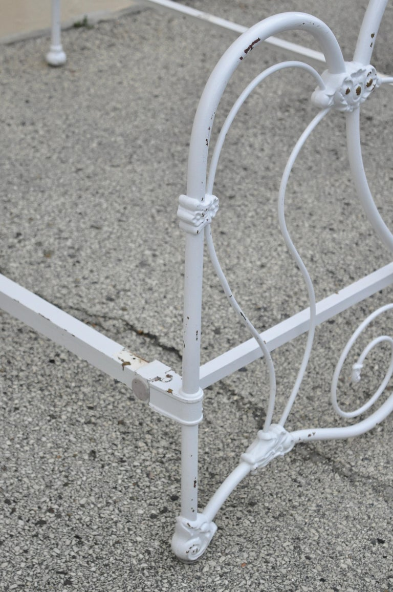 Antique Victorian Cast Iron Ornate White Scrollwork Full Size Metal Bed Frame 6