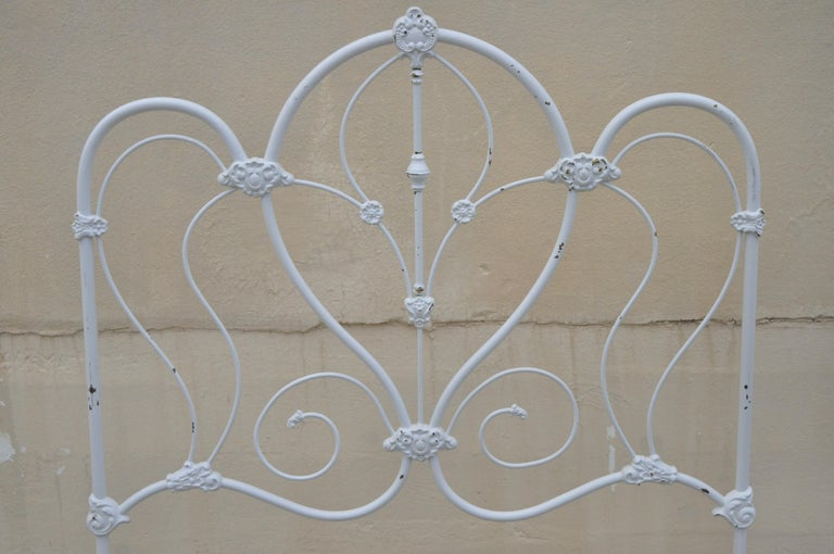 North American Antique Victorian Cast Iron Ornate White Scrollwork Full Size Metal Bed Frame