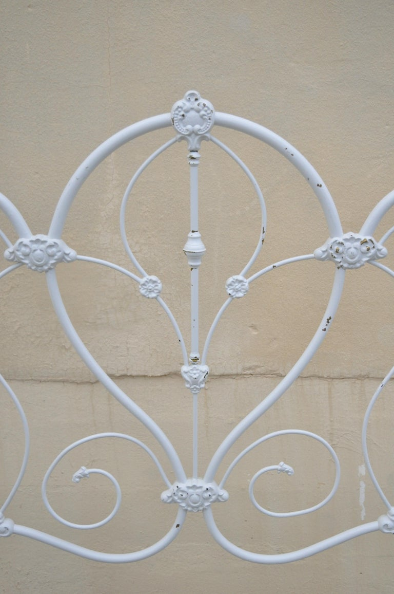 20th Century Antique Victorian Cast Iron Ornate White Scrollwork Full Size Metal Bed Frame